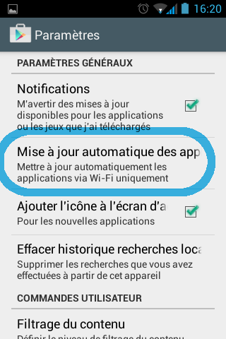 Mise à jour automatique des applications