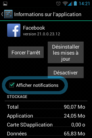 Désactiver les notifications