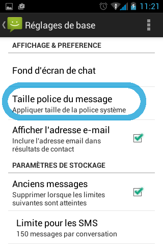 Taille police du message