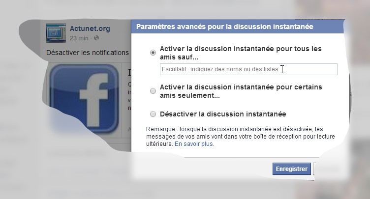 facebook  se rendre visible ou invisible  discussion