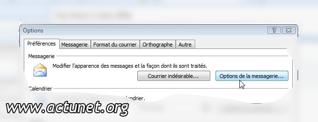 Options de la messagerie