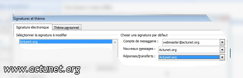 Définir les options de la signature