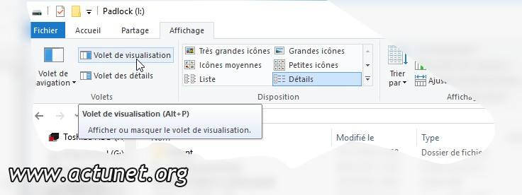 Volet de visualisation