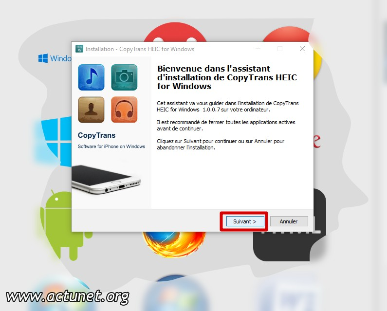 Installer (1) copytrans HEIC pour Windows